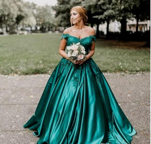 Dark Green Plus Size Evening Dresses Off Shoulder Appliques Beaded