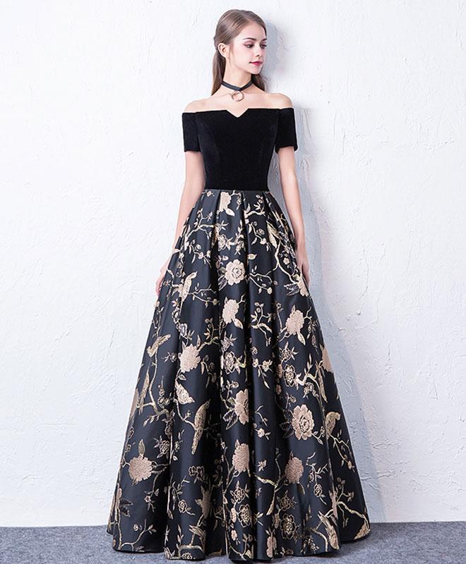 Black off shoulder long prom dress, black evening dress G210 ...