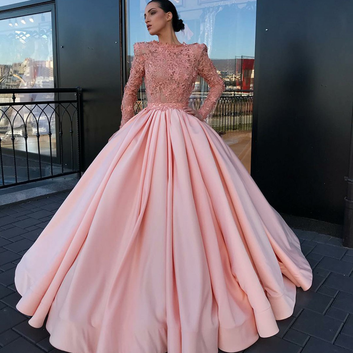 A-Line Bateau Long Sleeves Pink Satin Prom Dress with Appliques Lace ...
