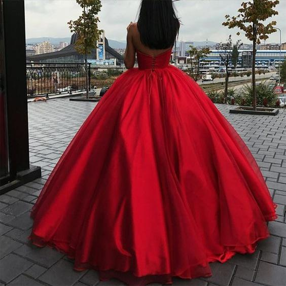 Sweetheart Red Ball Gowns,Tulle Lace-up Red Prom Dress 2018 · Ulass ...