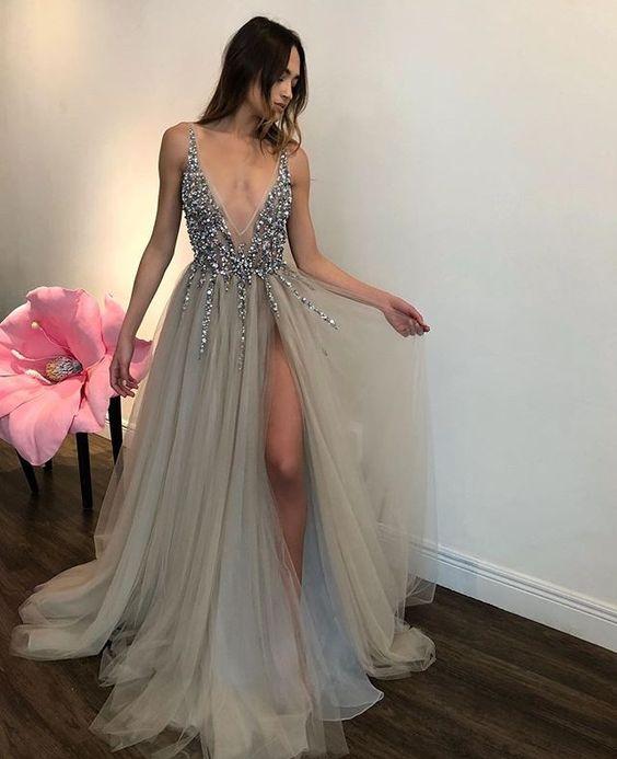 Side Slit Light Grey V-neck Long Prom Dress Formal Evening Dress ...