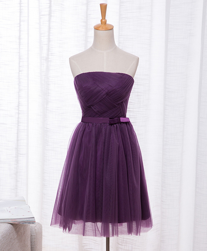 Custom Made A Line Short Purple Prom Dress Purple Formal Dress