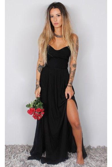 2018 Elegant Simple Prom Dress,Black Chiffon Prom Dress, Long ...