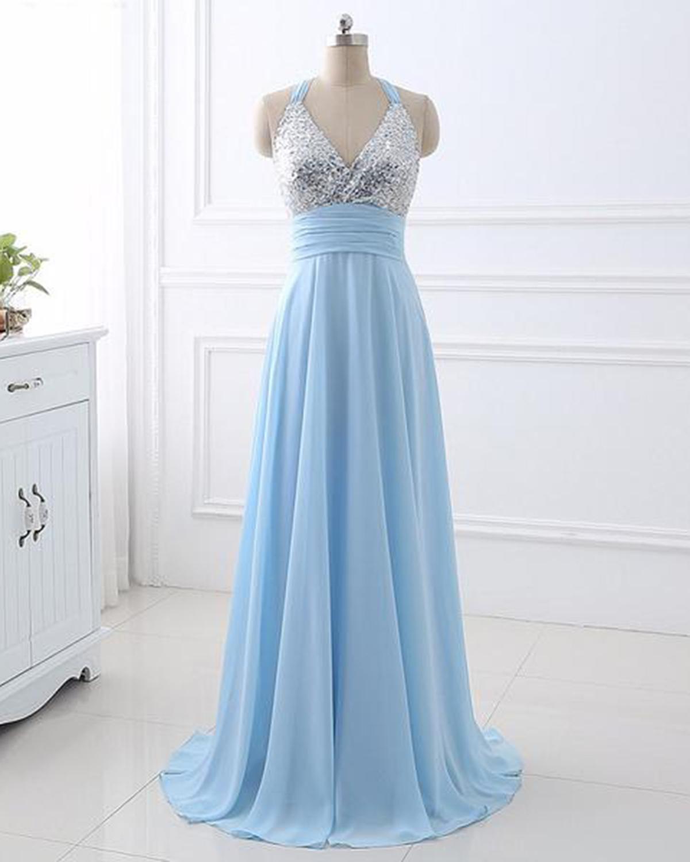 Light blue chiffon V neck long silver sequins prom dress, long ...
