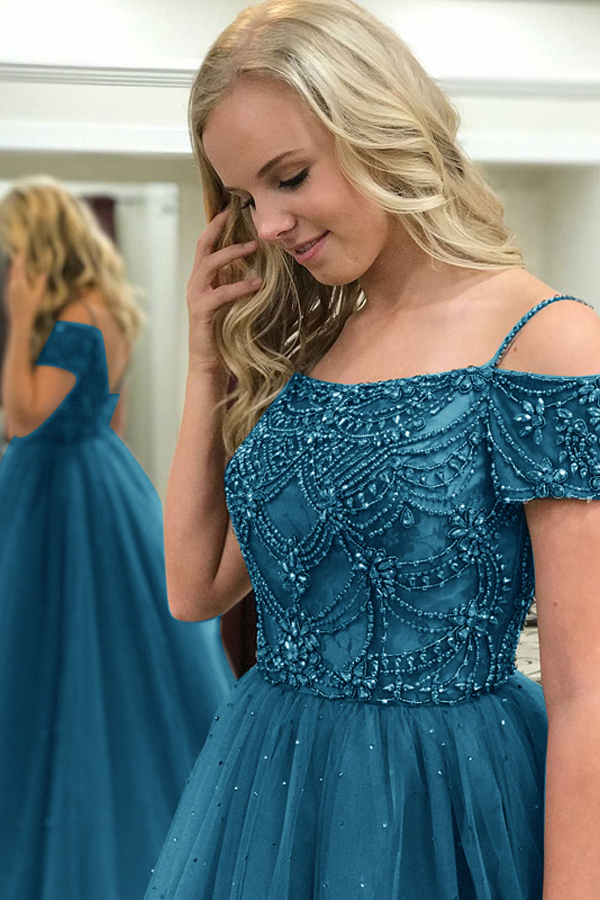 Ball Gown Off-the-Shoulder Sweep Train Dark Blue Tulle Prom Dress ...