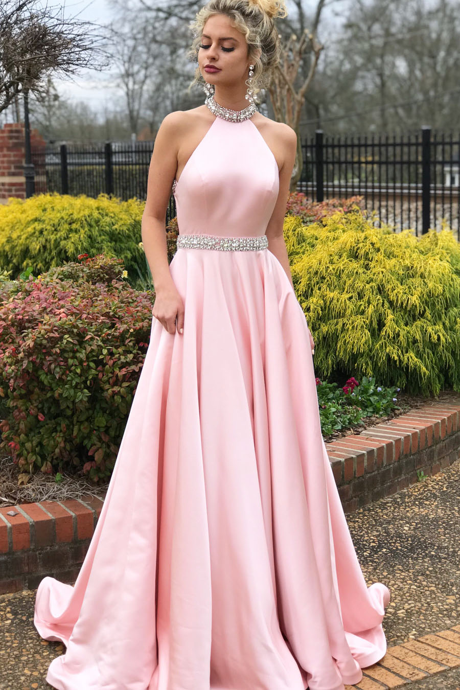 Elegant Beaded Pink Long Prom Dress with Open Back Ball Gowns · prom ...