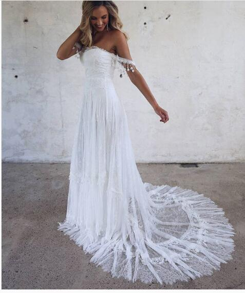 2018 Lace Boho Wedding Dress, Beach Wedding Dress, Halter Backless ...