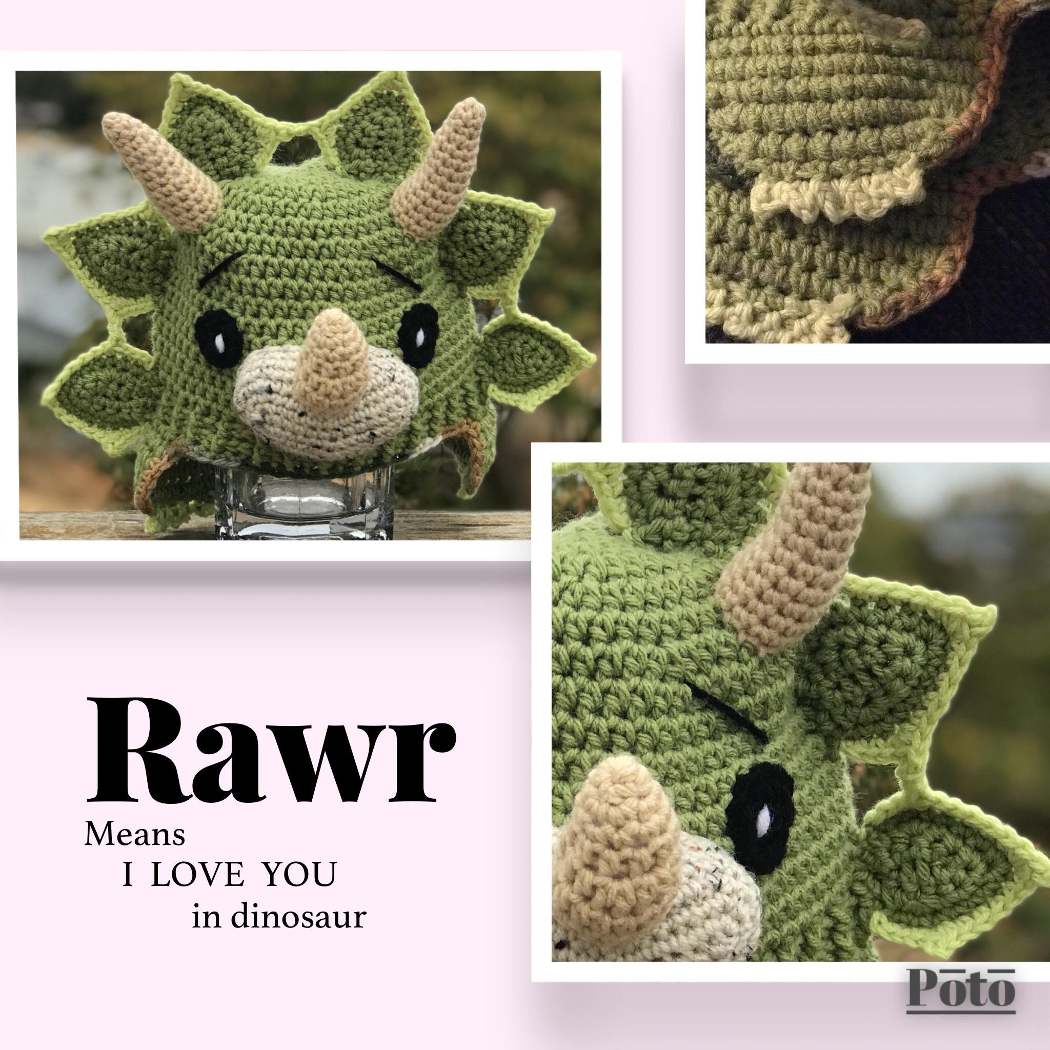 Dinosaur Triceratops Hat Crochet · JATDESIGNS · Online Store Powered ...
