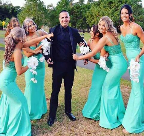 e6ca9bab02 Mint Green Satin Mermaid Bridesmaid Dresses 2018 Spaghetti Straps Plus Size  Garden Country Maid Of Honor