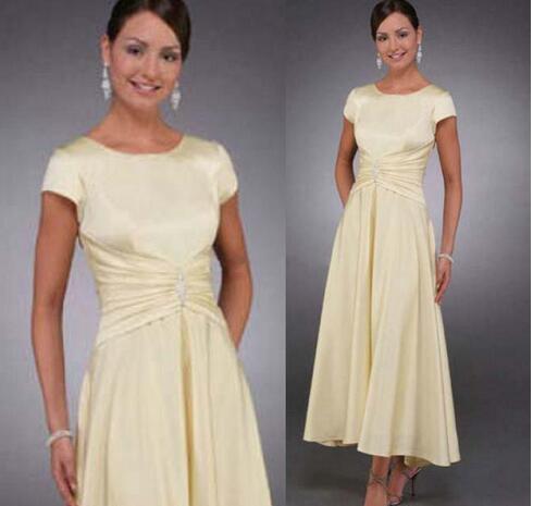 4c8965d745522 2018 Mother of the Bride Dresses Cap Sleeves A Line Tea Length Wedding  Party Dresses Plus