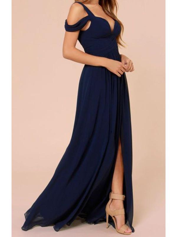Custom Made A Line Off Shoulder Navy Blue Long Prom Dress Navy Blue