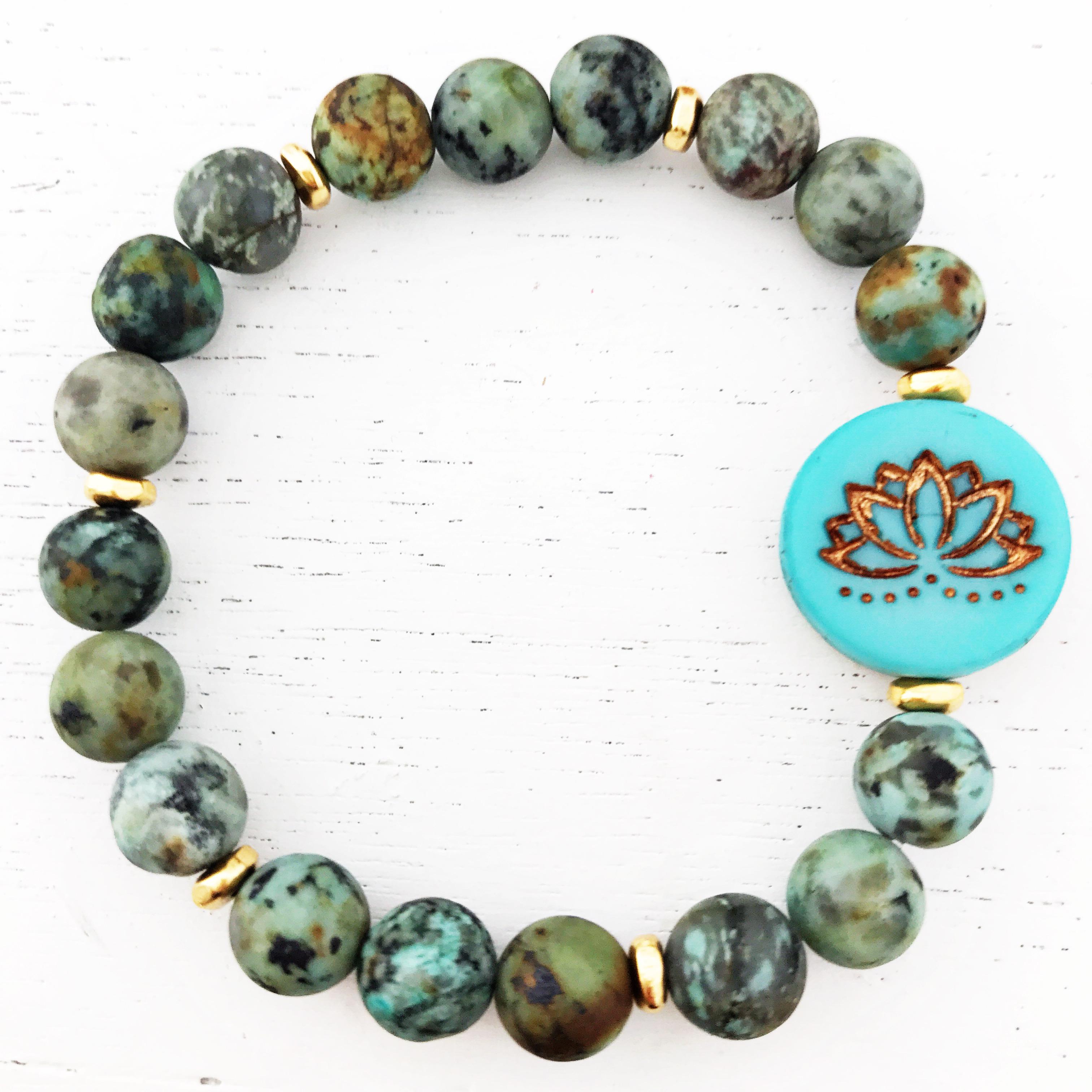 African Turquoise Jasper Matte Gemstones Lotus Flower Healing