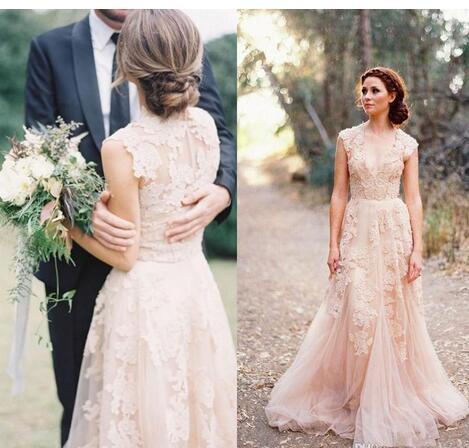 Blush Pink Lace Applique Tulle Sheer Wedding Dresses 2018 Summer ...