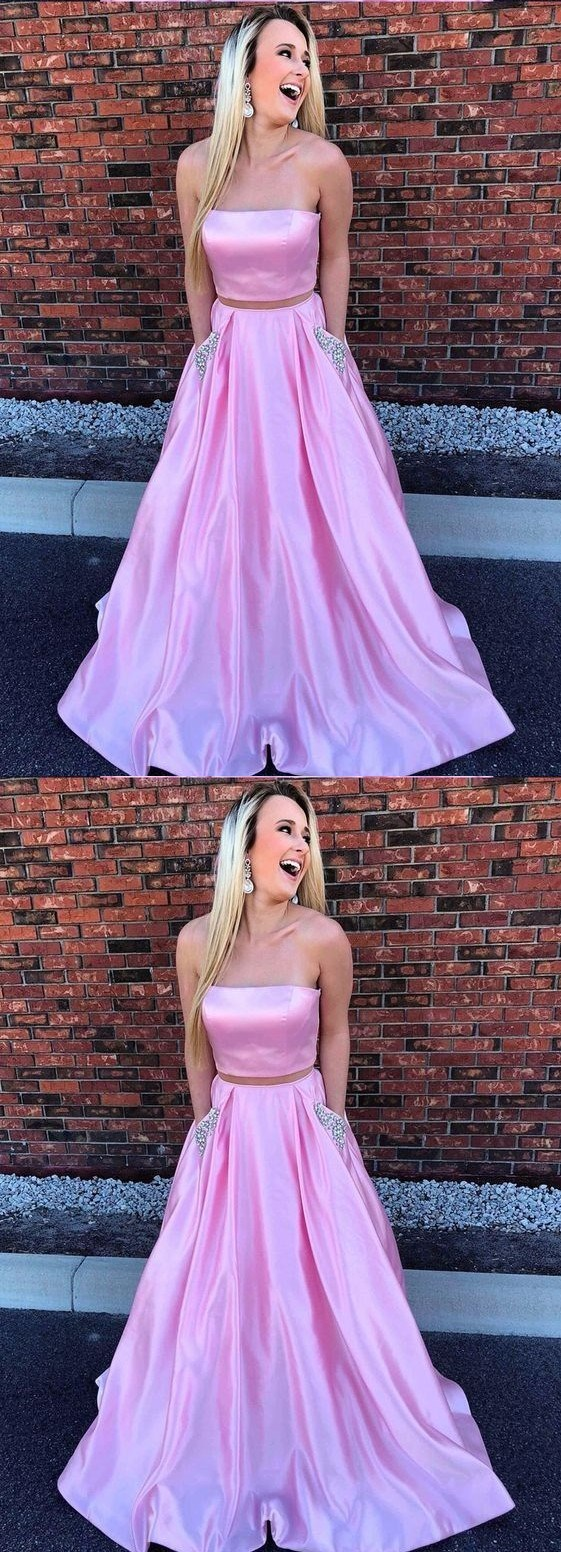 Two Piece Blue Long Prom Dress With Pockets Pink 2 Pieces Prom