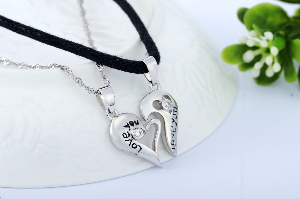 925 sterling couple pendant lovers necklaces with pair split heart 925 sterling couple pendant lovers necklaces with pair split heart engraved love you promise pendants and aloadofball Images