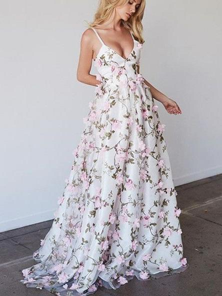 Floral Embroidered Prom Dress Plunge V Spaghetti Straps Floor Length ...