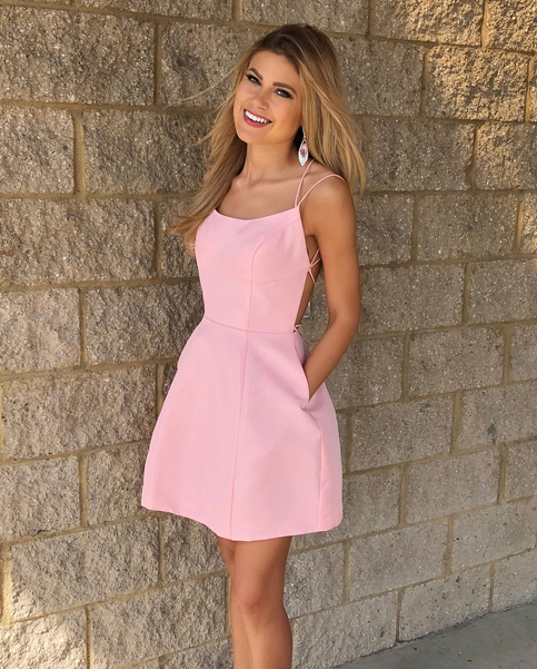Cute Short Pink Homecoming Dress With Pockets 183 Modsele