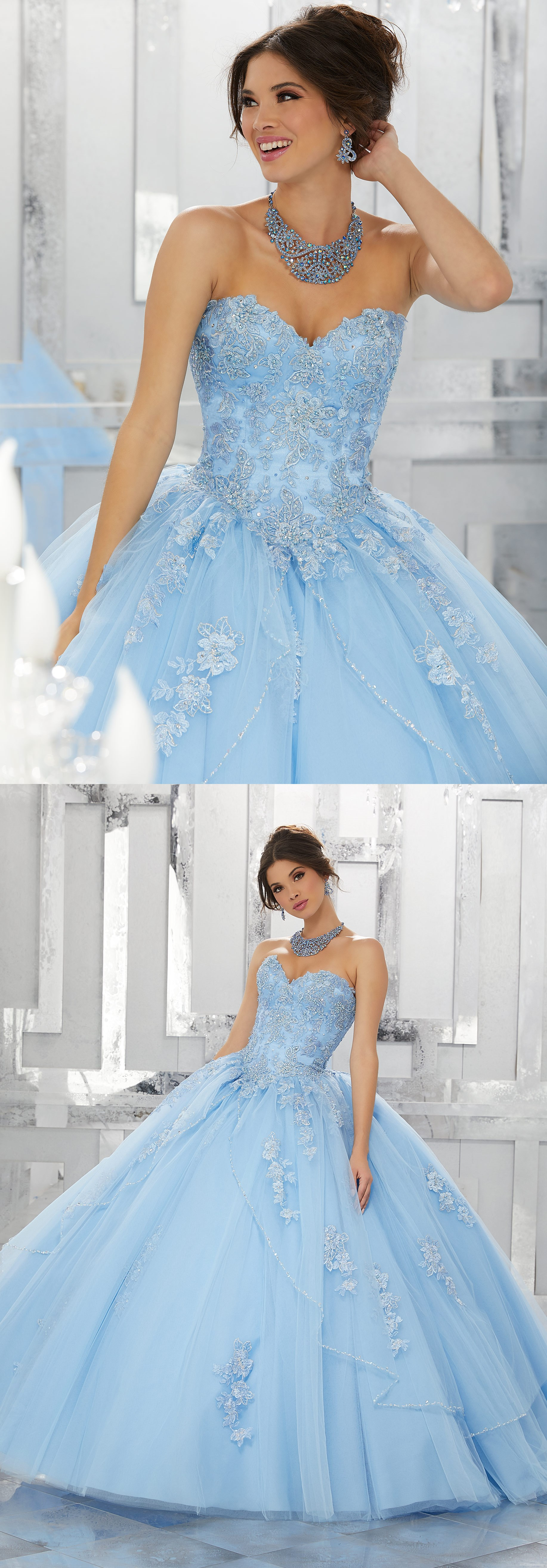 Elegant Light blue/yellow/pink appliques tulle ball gown, light blue ...