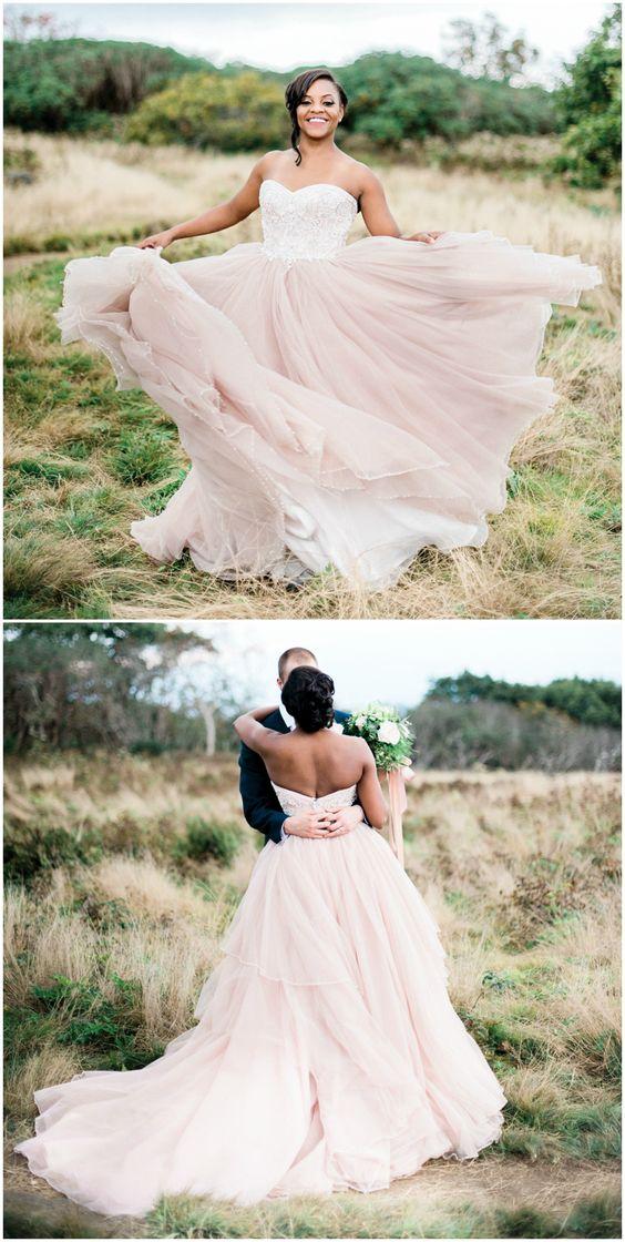 Light pink wedding dress, princess ballgown, full tulle skirt ...