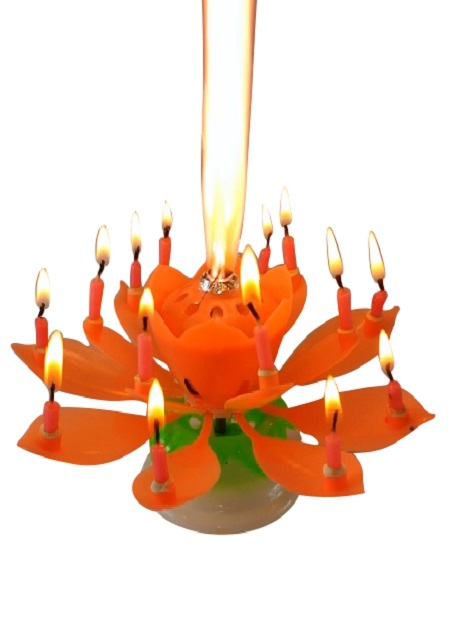 Orange Lotus Flower Birthday Exciting Candle Exciting Candle