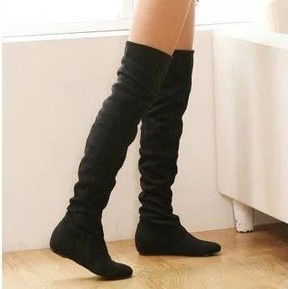 flat bottom boots for autumn winter the knee
