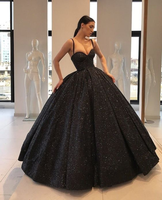 Black Sweetheart Spaghetti Straps High Quality Ball Gown,Amazing ...
