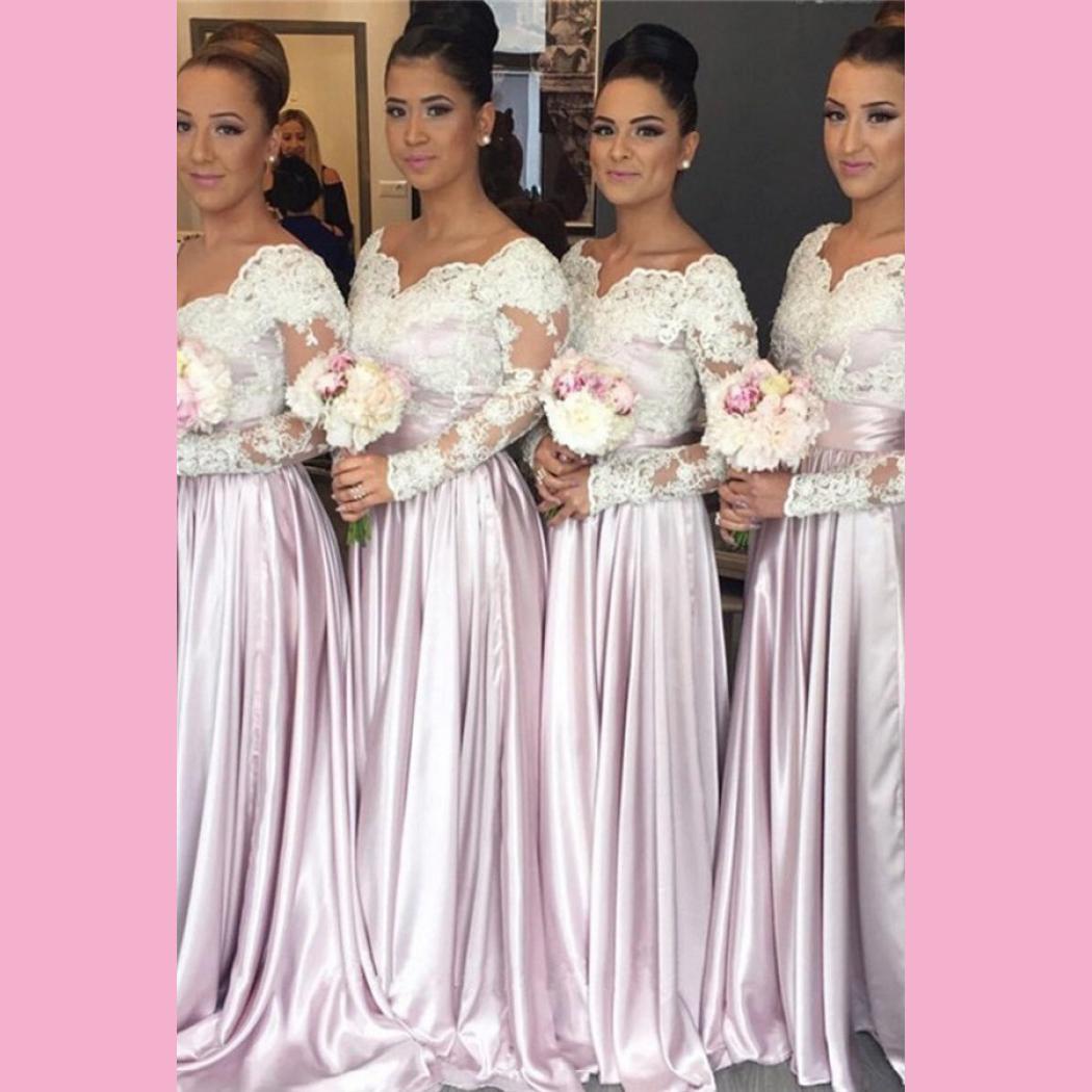 Lace Bridesmaid Dress Long Sleeve Satin Floor Length Sweetheart ...