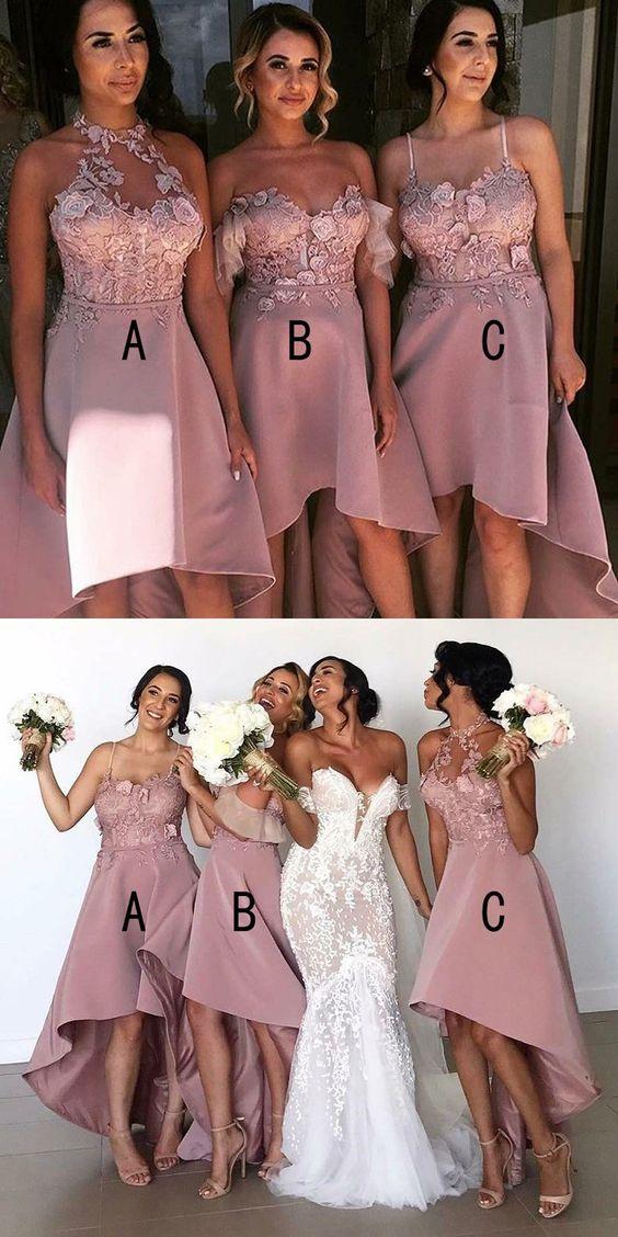 Petal Pink High Low Bridesmaid Dresses