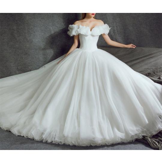2018 Modest Ivory Ball Gown Wedding Dress Off Shoulder Sweetheart ...