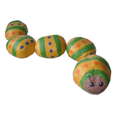 Garden decor/yard art - caterpillar painted rock - free usa shipping