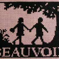 Beauvoir School Seal Ornament Canvas on 18 Mesh