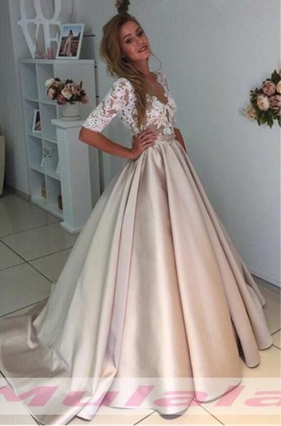 Ball Gown Wedding Dresses,Half Sleeve Wedding Dress,Lace Appliques ...