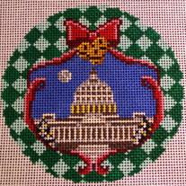U.S. Capitol Ornament Canvas on 18 Mesh