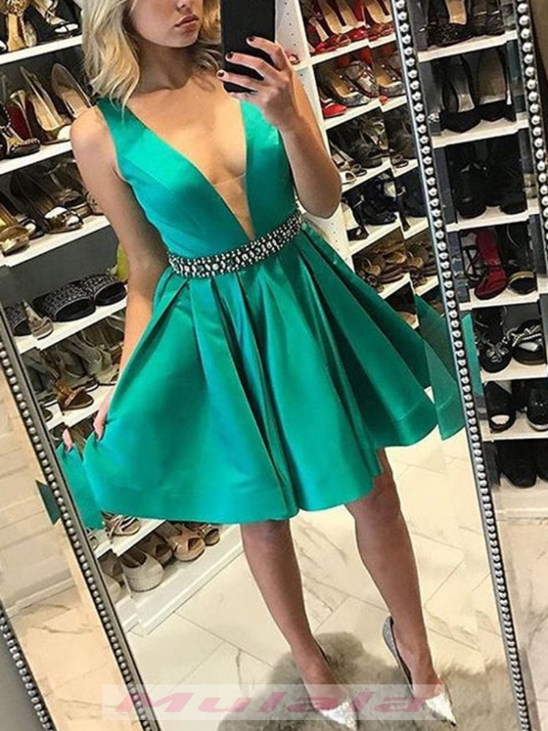 Emerald Green Short Satin Homecoming Dresses With Crystal Beaded ...