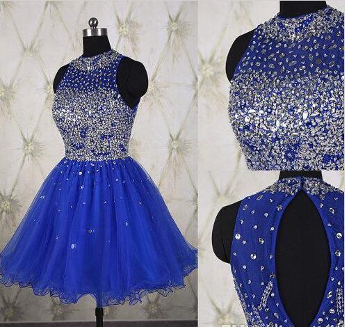 Royal Blue Formal Prom Dress Pleated Mini Homecoming Dresses Short
