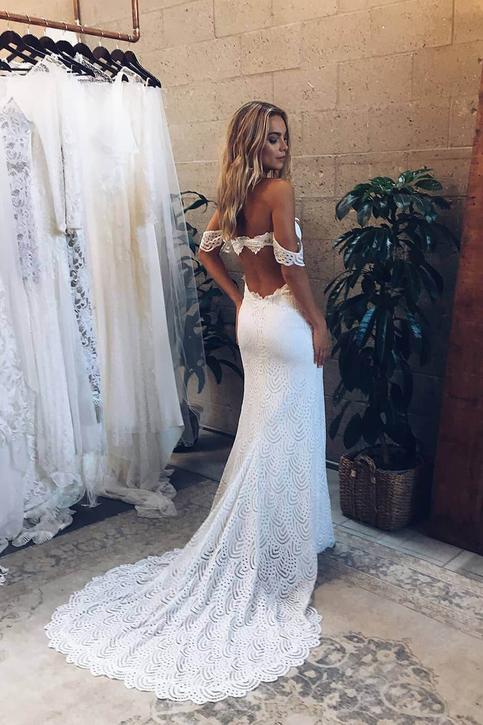 Romantic Off The Shoulder White Lace Mermaid Long Bridal