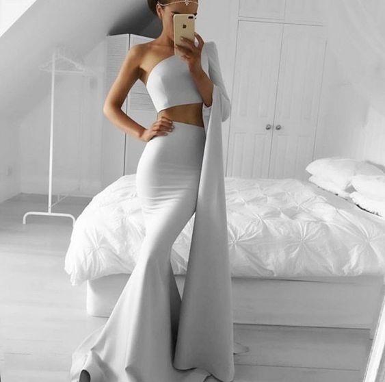 Unique Grey Mermaid Prom Dress 2018 Two Piece Satin One Shoulder