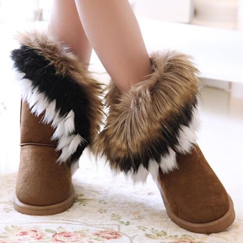 Winter Warm High Long Brown Snow Boots Artificial Fox