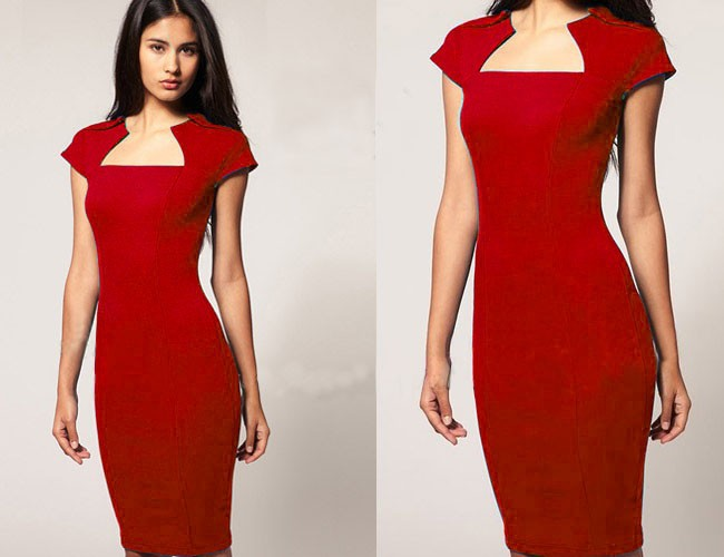 Professional square neck bodycon pencil dress red 183 sophisticates