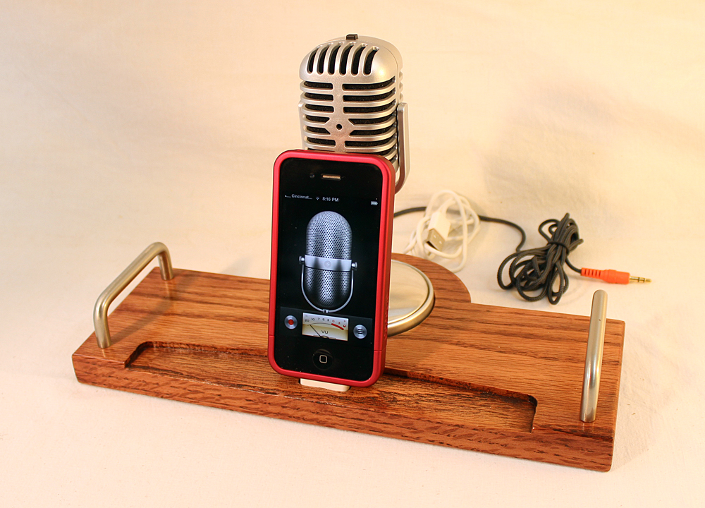 ipad iphone ipod dock sync and charging station oak microphone - Iphone Charging Station