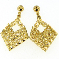 Diamond Shaped Filigree Earrings (Gold/Silver)