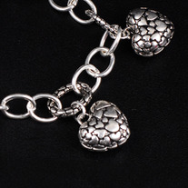 White Gold Puffy Heart Charm Bracelet