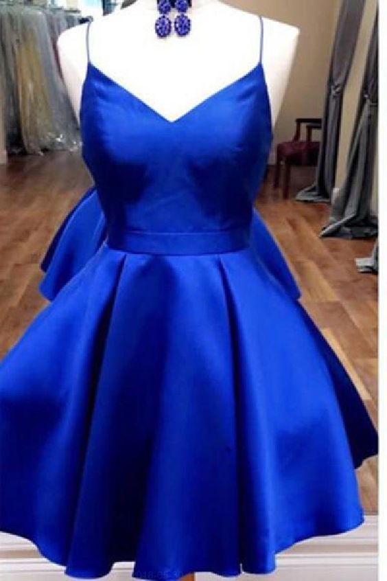Simple Satin Homecoming Dress, Short Royal