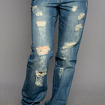 Destroyed Boyfriend Jeans in Shredded Wheat by Blank