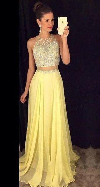 91b62fbb4e1 Long Sexy Yellow A-line Party Dress