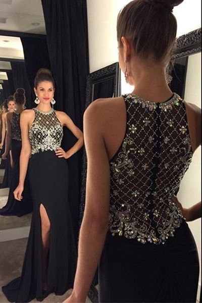 Black Mermaid Long Prom Dress With Beading Fashion Winter Dance