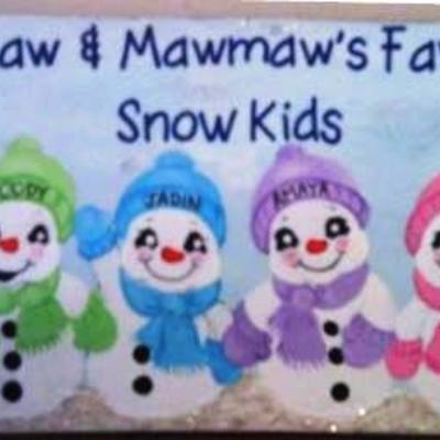 "6"" x 18"" snowkids (personalized sign) wall decor"