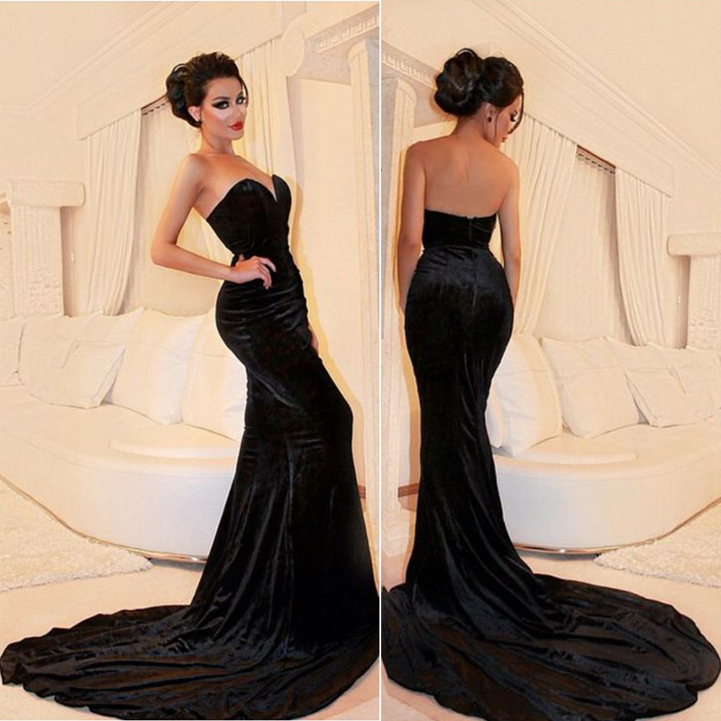 Black Sexy Mermaid Prom Dress Sweetheart Court Train Backless Formal