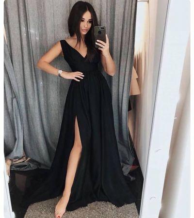 Simple black v neck long prom dress