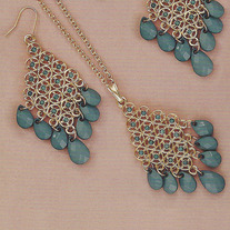 Vintage Blue Crystal Necklace and Earring Set